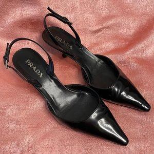 AUTHENTIC PRADA black slingback kitten heels
